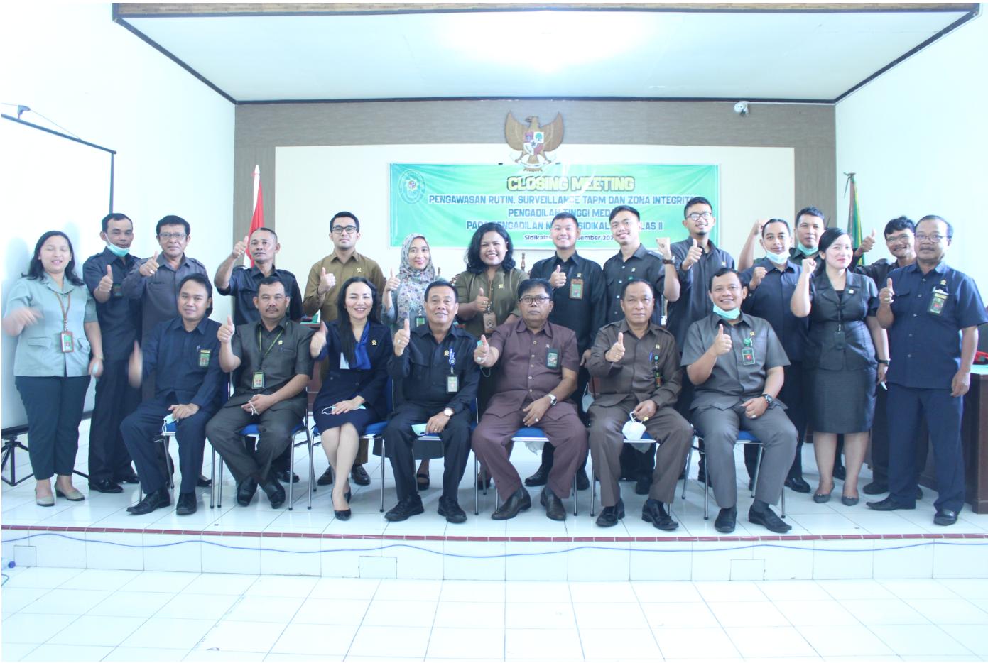 Closing Meeting Surveilan (TAPM), Zona Integritas (ZI) dan Pengawasan rutin Pengadilan Tinggi Medan pada Pengadilan Negeri Sidikalang